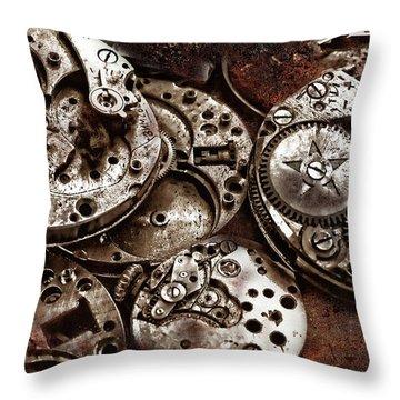 Rusty Watch Mechanism Throw Pillow
