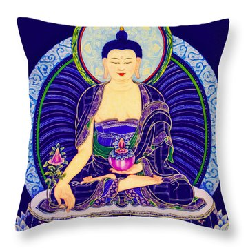 Medicine Buddha 6 Throw Pillow by Lanjee Chee