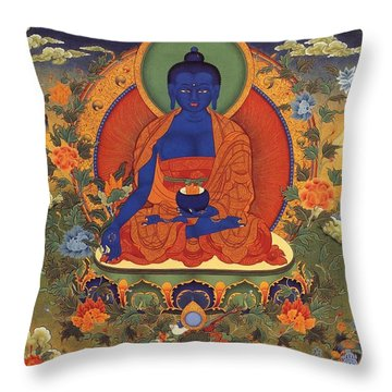 Medicine Buddha 8 Throw Pillow by Lanjee Chee