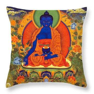 Medicine Buddha Throw Pillow by Lanjee Chee