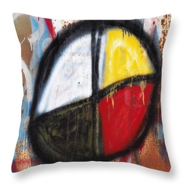 Medicine Wheel Graffiti Throw Pillow