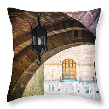 Throw Pillow featuring the photograph Medieval Arches With Lamp by Silvia Ganora