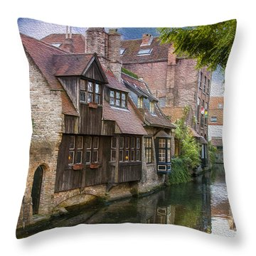 Medieval Bruges Throw Pillow