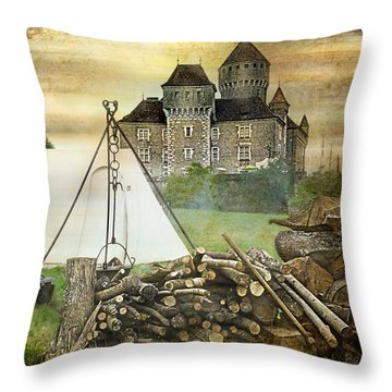 Medieval Castle Of Montrottier - France Throw Pillow by Barbara Orenya
