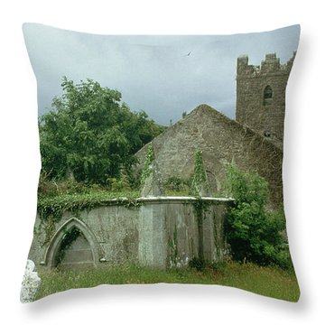 Medieval Church And Churchyard Throw Pillow by Unknown