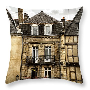 Medieval Houses In Vannes Throw Pillow