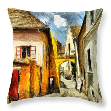 Medieval Street In Sighisoara Transylvania Romania - Painting Throw Pillow