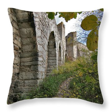 Medieval Town Wall Throw Pillow