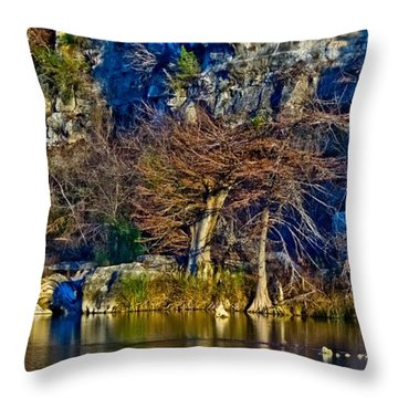 Medina River At Comanche Cliffs Throw Pillow