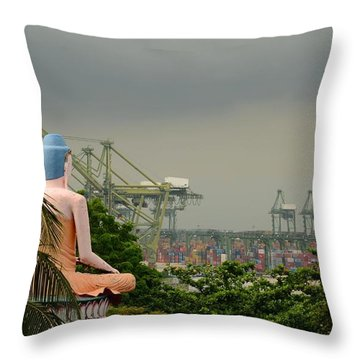 Throw Pillow featuring the photograph Meditating Buddha Views Container Seaport Singapore by Imran Ahmed