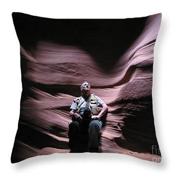 Meditating In Antelope Slot Canyon Arizona Throw Pillow
