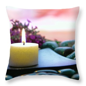 Meditation Candle Throw Pillow