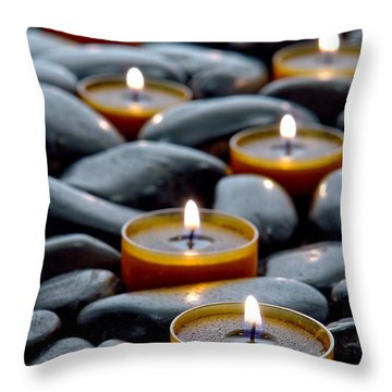 Throw Pillow featuring the photograph Meditation Candles by Olivier Le Queinec