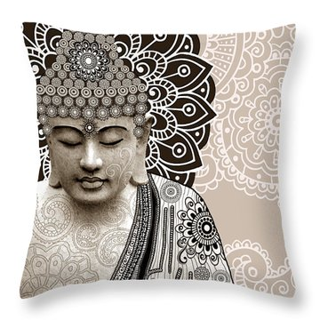 Meditation Mehndi - Paisley Buddha Artwork - Copyrighted Throw Pillow