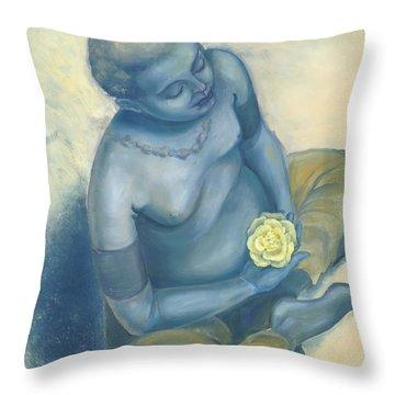 Meditation With Flower Throw Pillow by Judith Grzimek