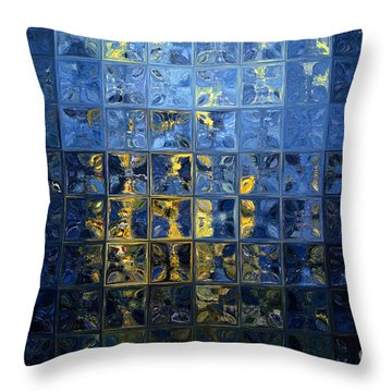 Mediterranean Blue. Modern Mosaic Tile Art Painting Throw Pillow by Mark Lawrence