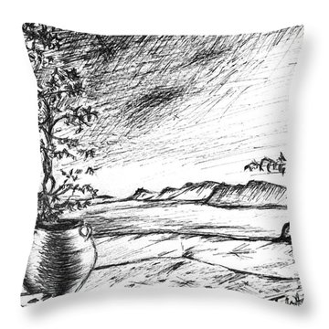 Throw Pillow featuring the drawing Mediterranean Cat by Teresa White