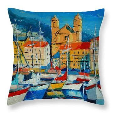 Mediterranean Harbor Throw Pillow