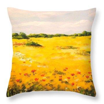 Mediterranean Landscape  Throw Pillow by Edit Voros