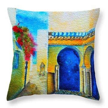 Throw Pillow featuring the painting Mediterranean Medina by Ana Maria Edulescu