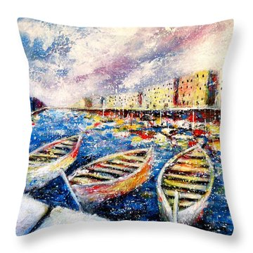 Mediterranean Port Colours Throw Pillow