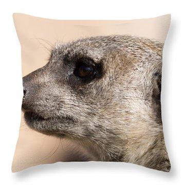 Meerkat Mug Shot Throw Pillow by Ernie Echols