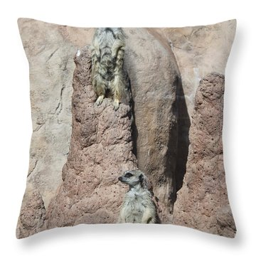 Throw Pillow featuring the photograph Meerkats by Erica Hanel