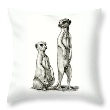 Meerkatte Throw Pillow by Heidi Kriel