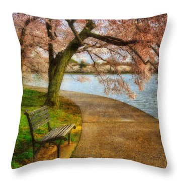 Meet Me At Our Bench Throw Pillow