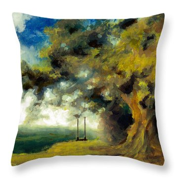 Meet Me At Our Swing Throw Pillow
