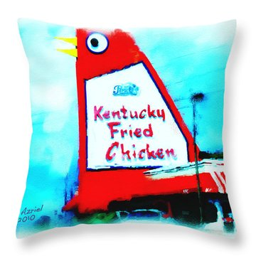 Throw Pillow featuring the painting Meet Me At The Big Chicken by Ted Azriel