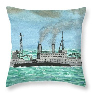 Throw Pillow featuring the painting Meeting For Supplies  by John Williams