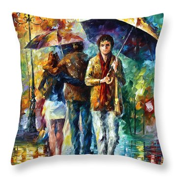 Meeting My Ex Throw Pillow by Leonid Afremov