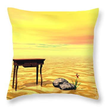 Meeting On Plain - Surrealism Throw Pillow