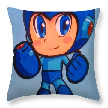 Mega Man Throw Pillow by Marisela Mungia