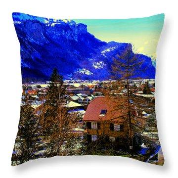 Meiringen Switzerland Alpine Village Throw Pillow