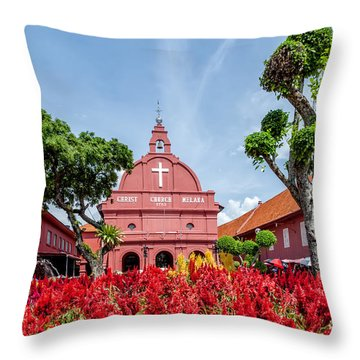 Melaka Red Square Throw Pillow by Adrian Evans