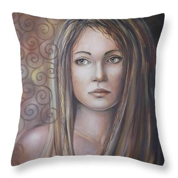 Throw Pillow featuring the painting Melancholy 080808 by Selena Boron