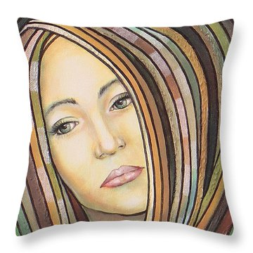 Throw Pillow featuring the painting Melancholy 300308 by Sylvia Kula