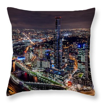 Melbourne At Night IIi Throw Pillow
