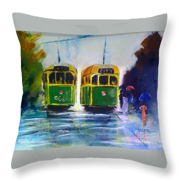 Melbourne Trams Throw Pillow