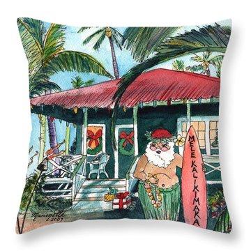 Mele Kalikimaka Hawaiian Santa Throw Pillow