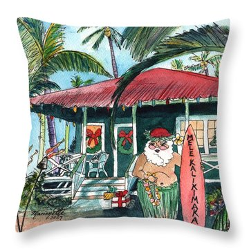 Mele Kalikimaka Hawaiian Santa Throw Pillow