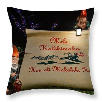 Mele Kalikimaka Sign And Elves Throw Pillow