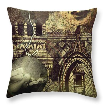 Throw Pillow featuring the digital art Melies Man In The Moon by Delight Worthyn