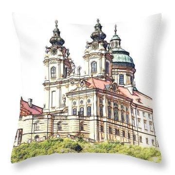 Melk Abbey In Lower Austria Throw Pillow