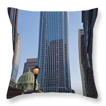 Mellon Bank Center Penn Center Market West Skyscrapers Phila Pa Throw Pillow by David Zanzinger