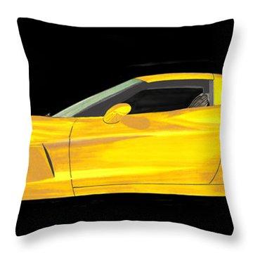 Mellow Yellow Corvette C 6 Throw Pillow