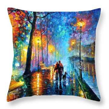 Melody Of The Night - Palette Knife Landscape Oil Painting On Canvas By Leonid Afremov Throw Pillow