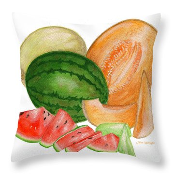 Throw Pillow featuring the painting Melons  by Nan Wright